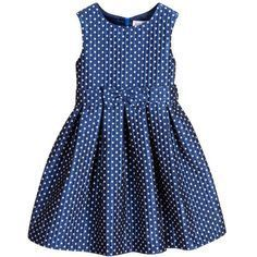 Girls metallic blue sleeveless damask dress by Rachel Riley with a pattern of white squares. The lining is silky smooth and it has a zip on the back to fasten. Kids Dress Wear, Baby Dress, Little Girl Dresses, Girls Dresses, Dress Anak, Kids Frocks Design, Girl Dress Patterns, Frock Design, Girl Doll Clothes