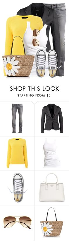 """Yellow Sweater"" by wishlist123 ❤ liked on Polyvore featuring Replay, Weekend Max Mara, Soaked in Luxury, Converse, Prada, H&M, Kate Spade, converse, yellowtop and waystowear"