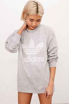 adidas Originals Double Logo Crew Neck Sweatshirt - Urban Outfitters