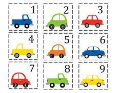 Beschrijf de auto op je kaartje, het andere kind moet raden welk getal er bij…