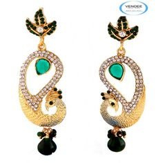 peacock shape diamond earring (3622D)