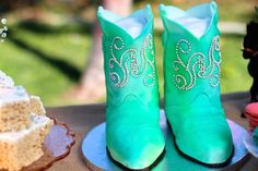 What a fun BOOT CAKE from this Vintage Cowgirl themed birthday party with Lots of Really Cute Ideas via Kara's Party Ideas | Cake, decor, cupcakes, games and more! KarasPa...