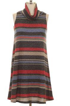 Striped mock knit dress - red/navy Sizes S-L $42.99 www.poshclicks.com