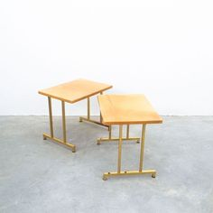 Aldo Tura Pair of Tan Parchment Brass Coffee or Side Tables, Italy, 1970