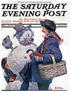 """""""Gramps and the Snowman"""" Saturday Evening Post Cover December 20 1919 Norman Rockwell Norman Rockwell Prints, Norman Rockwell Paintings, Peintures Norman Rockwell, Caricatures, The Saturdays, Norman Rockwell Christmas, Illustrations Vintage, Munier, Retro"""