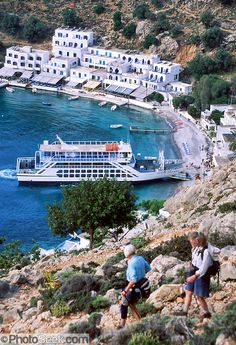 Loutro harbor, Crete, Greece: The only access to Loutro is by foot, ferry, or private boat on the Mediterranean Sea.