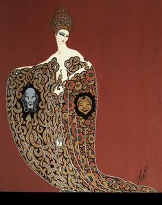"""Les Plaisirs - Innocents et Morbids"" Ballet Costume Design of Twinned Serpents for ""L'Or,"" Ziegfield Follies - Erté (Romain de Tirtoff) - c. 1923"