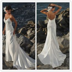 Wedding Gowns 2017 New Stretch Satin Wedding Dresses 2017 Spaghetti Strap Beading Applique White Ivory Beach Wedding Dresses 1131