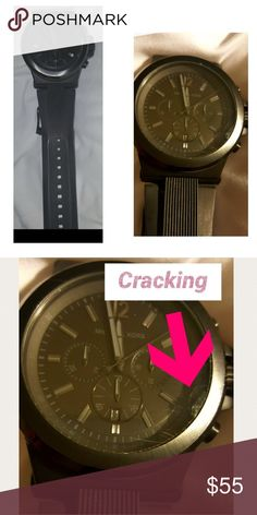 Michael Kors Mens Wristwatch Needs a new battery and does have a chip on the glass face. It does not effect use. Came with the crack, but was not informed it was there. My husband didn't like it because it is heavy. Authentic for sure. I ended up getting him a fitbit instead. Michael Kors Accessories Watches
