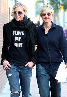 Ellen and Portia are one of my fav couples. I'll never forget when Portia cried about how much Ellen loves her. And the way she loves her. It was perfectly beautiful. i love my wife! #lesbian