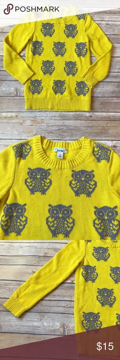 Old Navy Size 8 Old Navy Girls sweater tunic or dress (depending on your daughters height)! Adorable! So cute with grey leggings. Bright yellow cotton sweater with grey owls. Super soft and comfy. No stains. Very good condition. Old Navy Shirts & Tops Sweaters