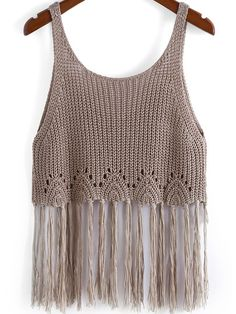 Shop Camel Spaghetti Strap Knit Tassel Cami Top online. SheIn offers Camel Spaghetti Strap Knit Tassel Cami Top & more to fit your fashionable needs.