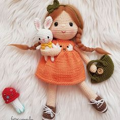 Educational and interesting ideas about amigurumi, crochet tutorials are here. Crochet Dolls Free Patterns, Crochet Doll Pattern, Amigurumi Patterns, Doll Patterns, Crochet Fairy, Crochet Bunny, Free Crochet, Yarn Crafts For Kids, Crochet Doll Tutorial