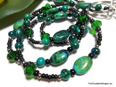 Beaded Lanyard Id Necklace Emerald Green and Black Chrysocalla Jasper Crystal Handmade Jewelry with Angel Strong Breakaway Clasp - pinned by pin4etsy.com