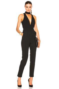 Choker Plunge Jumpsuit in Black