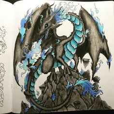 "22 Likes, 7 Comments - 🖍🎨🎀 (@kellymagination_11) on Instagram: ""For the color along with @coloringmaja !!! #dragonary #dragon #blue #black #fire #stone #guanghui…"""