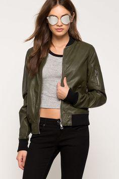 A'GACI   Faux Leather Bomber Jacket   #Agaci