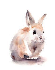 Bunny Watercolor Print, Watercolor Painting Art Print, Cute Rabbit Painting, Pet… #watercolorarts