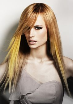 Yellow Hair Dye | golden blonde hair with yellow colored streaks