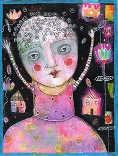 PENELOPE GOES OUTSIDE - mixed media collage on 6x8 bristol paper -finished with a protective varnish giving you the option to frame WITHOUT the