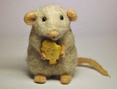 Grey wool mouse Needle felted Handmade work by BinneBear on Etsy, Needle Felted Animals, Felt Animals, Animals For Kids, Wooly Bully, Needle Felting Tutorials, Felt Mouse, Cute Mouse, Wool Felt, Felted Wool
