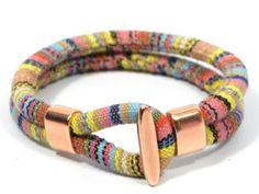rose gold bracelet * pastel tones aztec fabric bracelet * ethnic fabric bracelet * ethnic cotton cord bracelet * rose gold jewelry by CozyDetailz on Etsy