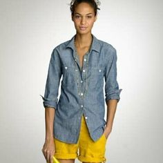J.crew denim button down shirt Classic piece, no stains, only worn a few times J. Crew Tops Button Down Shirts