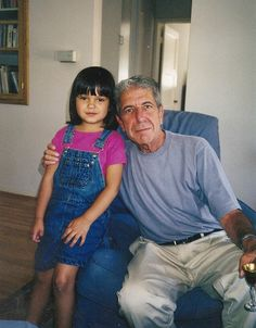 "cohenyearsphotos: From ""Garlic World and Graceland"" by Eva Batalla, Valuable Delusions, October 9, 2014. Leonard Cohen and Perla Batalla's daughter Eva. Presumably the photographer is Perla Batalla."