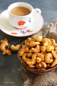 Masala Kaju - Spicy Roasted Cashew and a hot cup of chai Cashew Recipes, Snack Recipes, Cooking Recipes, Veg Recipes, Recipies, Indian Snacks, Indian Food Recipes, Indian Cookbook, Vegetarian Snacks