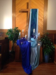 Living Water #Altar Scape  NOTE how different fabrics, including a print/paisley, add dimension, and how glass under/around candles or tea lights adds reflective qualities and shine.