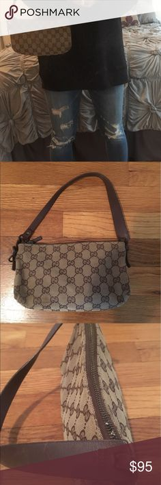 Mini Gucci handbag Authentic brown/tan canvas vintage Mini Gucci handbag- mini bags are all the rage this Sp/Su!  Great condition! Gucci Bags Baby Bags