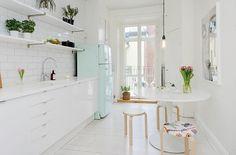 white kitchen, mint SMEG fridge