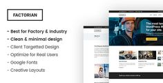 Factorian - Minimal factory & industry HTML Template . Simple but modern design that reflects professionalism is the main feature of Factorian. The flexibility and customizability it provides makes it a multipurpose business template, which is suitable for any business. Even though the focus of the template is on industries, factories, manufacturers,