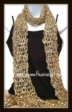 Crochet Scarf Evening Wrap Yellow Gold Shiny Metallic Shawl Skinny Scarf Handmade in USA