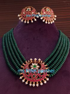 Gold Jewellery Design, Bead Jewellery, Beaded Jewelry, Emerald Jewelry, Gold Jewelry, India Jewelry, Simple Jewelry, Necklace Designs, Making Ideas