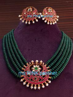 Gold Jewellery Design, Bead Jewellery, Beaded Jewelry, Emerald Jewelry, Gold Jewelry, India Jewelry, Simple Jewelry, Necklace Designs, Wedding Jewelry