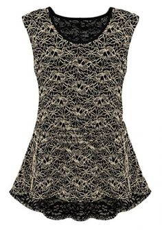 Black Sleeveless Lace Embroidery Two Pieces Blouse pictures