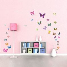 Decowall 38 Colourful Butterflies Kids Wall Stickers Wall Decals Peel and Stick Removable Wall Stickers for Kids Nursery Bedroom Living Room Butterfly Nursery, Butterfly Kids, Butterfly Wall Stickers, Nursery Wall Stickers, Removable Wall Stickers, Wall Decals, Turquoise Girls Rooms, Wall Transfers, Wall Tattoo