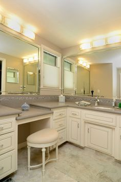 Drop Down Make Up Vanity Transitional Bathroom Crown Point