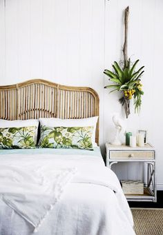 Rattan tropical green and white bedroom