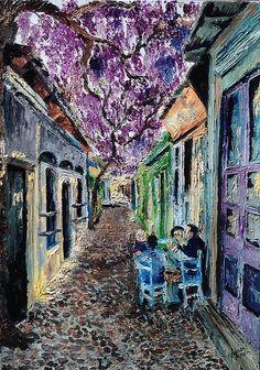"Grecian Alleyway 18"" x 24"" Oil on Canvas"