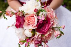 Silk Bridal Bouquet  Fuchsia Pink and Ivory by alexisgracedesigns