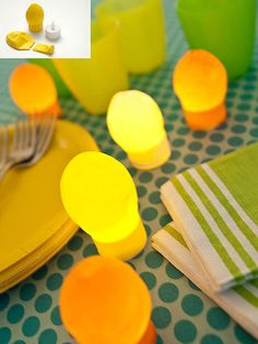 Illuminate your summer table with the soft glow of these bloblike lights.                 For each, cut the neck from yellow and orange 12-inch-round balloons. Stretch the opening of the balloon over the top of a battery-operated tea light. To fill out your balloon, pinch open a section of its base and puff some air inside.                 Idea by Camilla Fabbri
