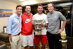 Behind the scenes with Stan Wawrinka - Stanislas Wawrinka and his team, 26 January 2014. (Photo by: Ben Solomon/Tennis Australia)