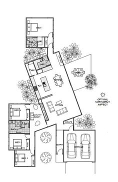 Floor Plan Friday: Private & Practical Using Pods A lovely reader sent me this f. - Floor Plan Friday: Private & Practical Using Pods A lovely reader sent me this floor plan last week - Beautiful House Plans, Dream House Plans, House Floor Plans, Beautiful Homes, Beautiful Beautiful, Narrow House Plans, Unique House Plans, Unique Floor Plans, Beautiful Bedrooms