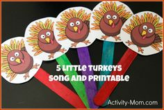 5 Little Turkeys Song and Puppets - The Activity Mom