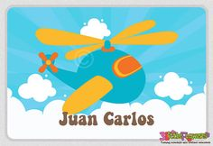 Helicopter Placemat - Personalized placemat for kids - Laminated Custom Double-sided placemat - Activity Placemat - Children Placemat