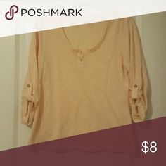 Peach 3/4 length peach top Great condition, cute with shorts or jeans thyme and honey Tops Tees - Long Sleeve