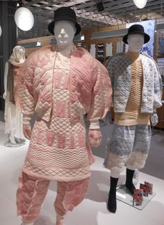 Oversized shapes recall oriental outfits, quilting techniques in the knitting