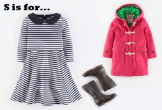 MiniBoden Back to School Look #6: Stripy Skater Dress, The Duffle, Tall Leather Boots